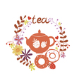 Design with tea pot and sweets vector image
