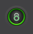 glossy dark circle lock button vector image