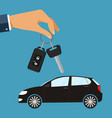 hand with car keys concept rent or buying car vector image
