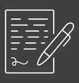 pen signing line icon business contract signature vector image