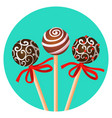 three bonbones on stick with ornamental brown vector image