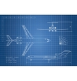 Outline drawing plane on a blue background vector image vector image