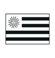 Uruguay flag monochrome on white background vector image