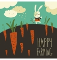 Little rabbit and carrot field vector image