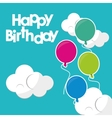 happy birthday beautiful balloons clouds turquoise vector image