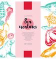 sea creatures - color drawn vintage banner vector image