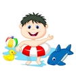 Cartoon Boy floating with inflatable ring vector image vector image