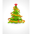 christmas tree with red star vector image vector image