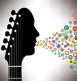 Guitar headstock man with circles vector image vector image