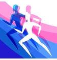 Background with abstract stylized running women vector image