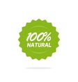 Natural 100 percent green label isolated on vector image