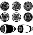 Airplane jet engine turbines vector image