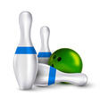 Ball and pins of bowling realistic skittles with vector image