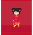 beautiful Asian girl with lantern vector image