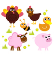 Cute farm animals for spring isolated on white vector image