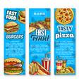 fast food restaurant menu sketch banners vector image
