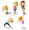 Five girls doing different things vector image