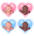 Four stickers in the shape of a heart with cute vector image