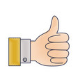 hand thumb up icon in colored crayon silhouette vector image