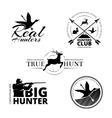 Hunting club labels logos emblems set vector image