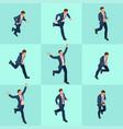 set isometric running businessman businessman man vector image