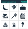Set of modern icons Dessert and sweet food vector image