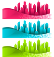 Silhouette Cities and Banners vector image