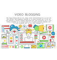 video blogger flat line concept computer screen vector image