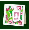 Card with pattern and Christmas tree vector image vector image