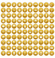 100 star icons set gold vector image