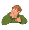Happy cartoon man torso in green sweater holding vector image
