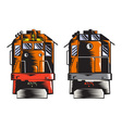 Diesel Train Front Rear Woodcut Retro vector image vector image