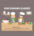kids cooking classes poster children cook vector image