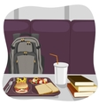 School lunch tray with stack of books vector image