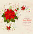 lovely christmas poinsettia arrangement on grunge vector image vector image