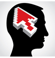 red arrow in a human head vector image vector image