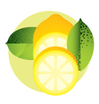 whole and halved yellow lemon with green leaves vector image