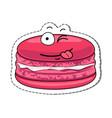 cartoon macaron cute character face sticker vector image
