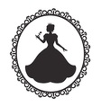 princess in a magnificent dress in a retro frame vector image