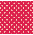 Tile pattern pink polka dots on red background vector image vector image