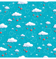 clouds and hearts vector image