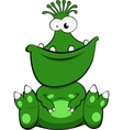 a cute green monster vector image