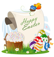 Easter bread and painted eggs with a paper scroll vector image
