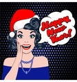 beautiful girl in santa claus clothes vector image