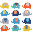 Colorful Cute Elephant Collections vector image