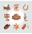 icons for Wild West computer game Cowboy vector image