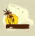palms girl banner grunge vector image