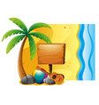summer scene with board and beach vector image