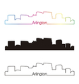 Arlington skyline linear style with rainbow vector image vector image