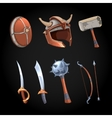 Cartoon fantasy weapons icons set vector image